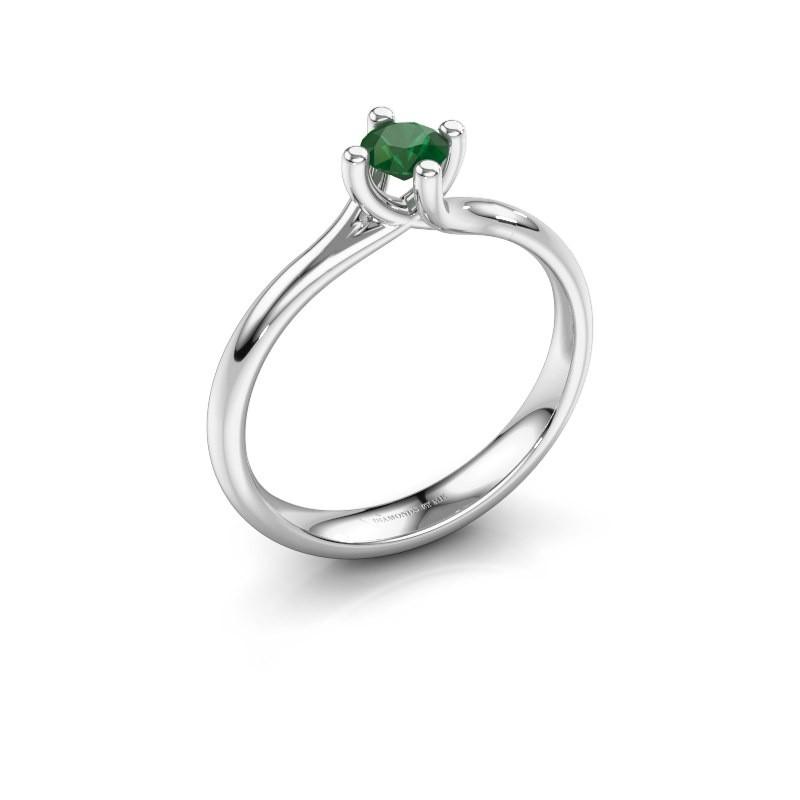 Engagement ring Dewi Round 585 white gold emerald 4 mm
