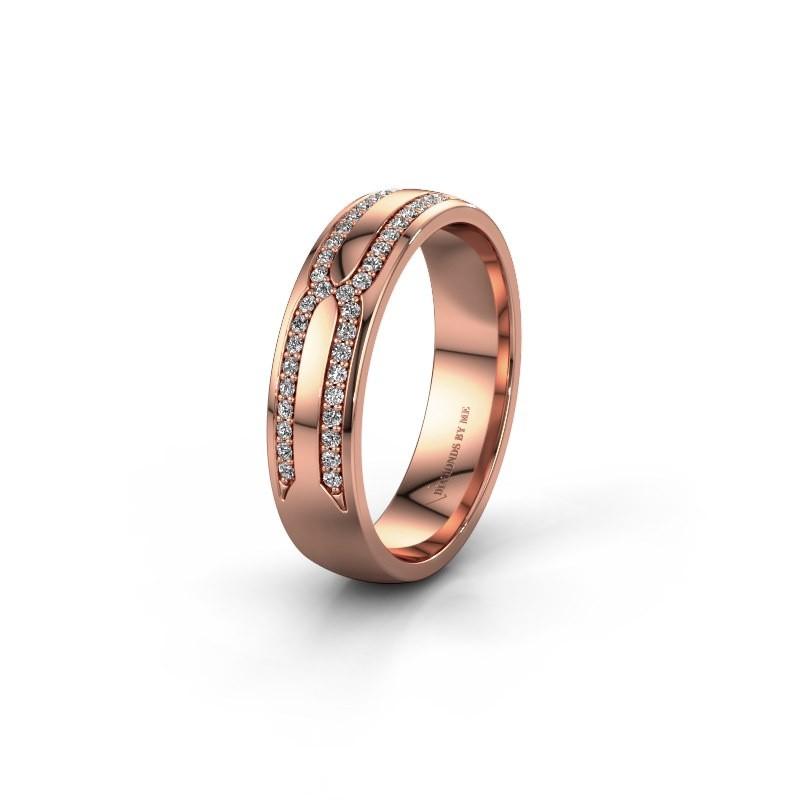 Trouwring WH2212L25AP 375 rosé goud diamant ±5x1.7 mm