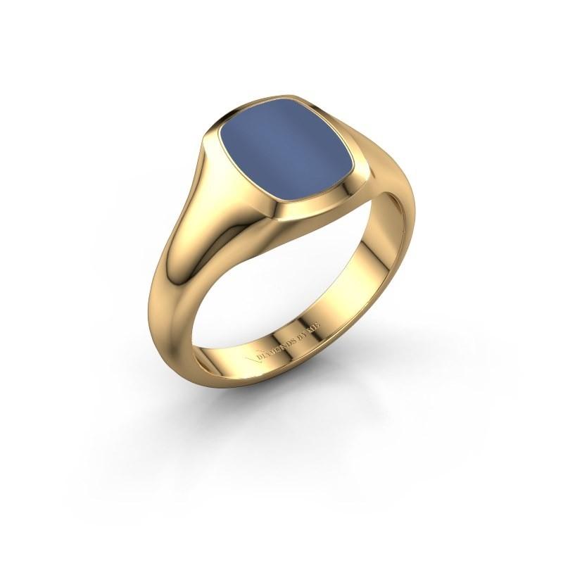 Zegelring Benjamin 1 F 585 goud blauw lagensteen 10x8 mm