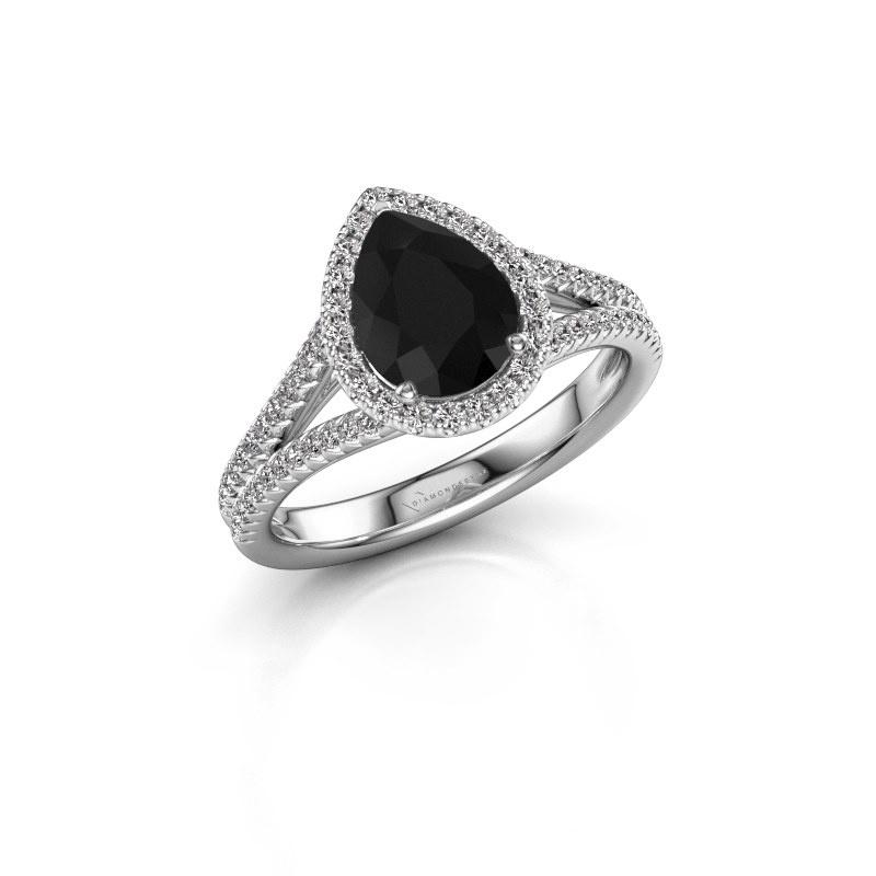 Verlovingsring Verla pear 2 585 witgoud zwarte diamant 1.637 crt