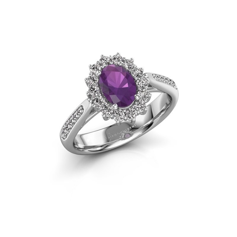 Engagement ring Margien 2 585 white gold amethyst 7x5 mm