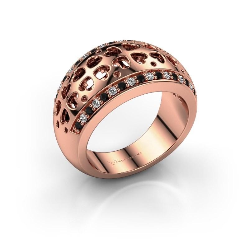 Ring Tirza 375 rosé goud zwarte diamant 0.376 crt