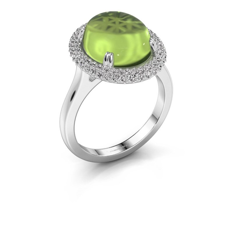 Ring Jayna 925 silver peridot 12x10 mm