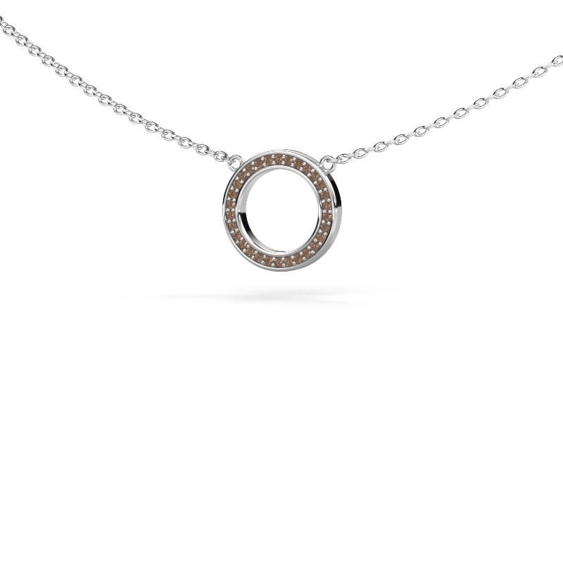 Hanger Round 1 375 witgoud bruine diamant 0.075 crt