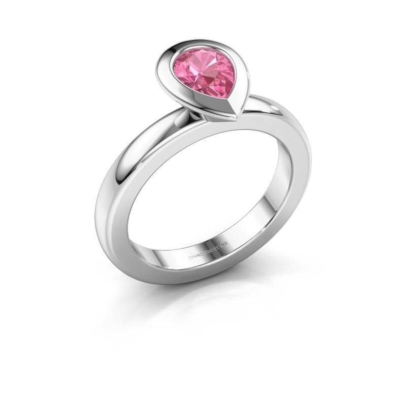 Stapelring Trudy Pear 925 zilver roze saffier 7x5 mm