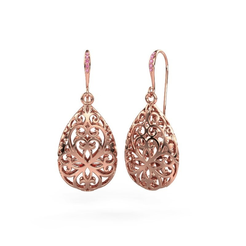 Oorhangers Idalia 1 585 rosé goud roze saffier 1.1 mm