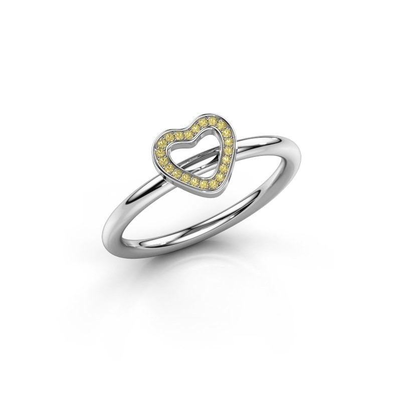 Ring Shape heart small 375 witgoud gele saffier 0.8 mm
