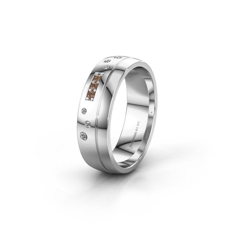 Trouwring WH0310L26AP 585 witgoud bruine diamant ±6x1.7 mm