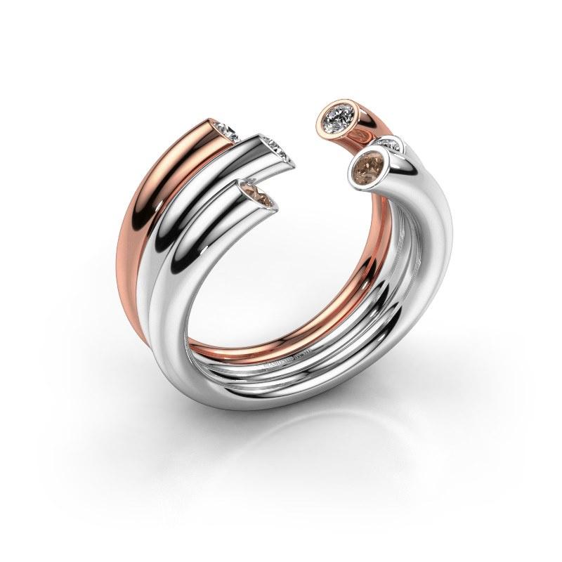 Ring Noelle 585 Weißgold Braun Diamant 0.33 crt