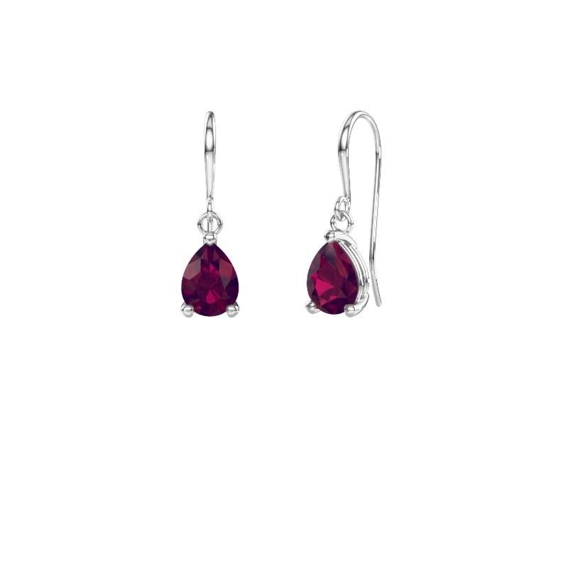 Drop earrings Laurie 1 950 platinum rhodolite 8x6 mm