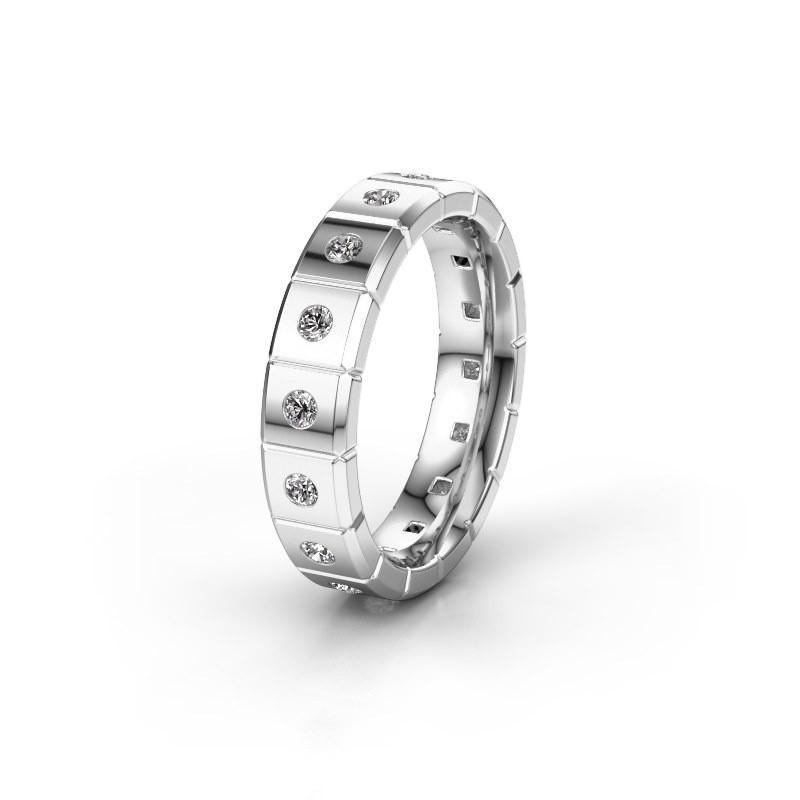 Huwelijksring WH2055L15DP 375 witgoud diamant ±5x2.4 mm