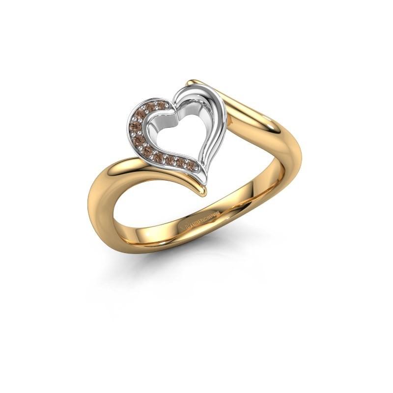 Ring Katlyn 585 goud bruine diamant 0.038 crt