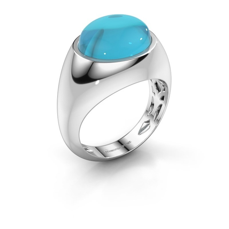 Ring Laurien 375 witgoud blauw topaas 12x10 mm