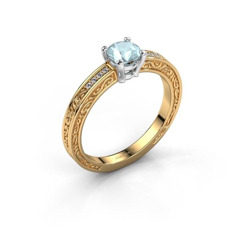 Verlovingsring Claudette 2 585 goud aquamarijn 5 mm