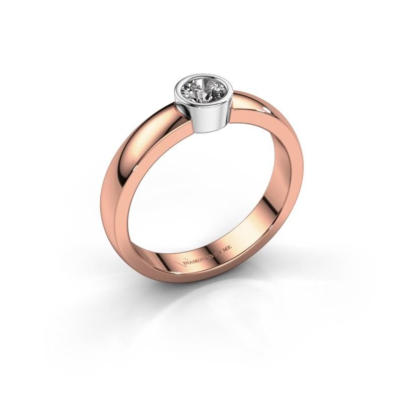 Ring Ise 1 585 rosé goud diamant 0.25 crt