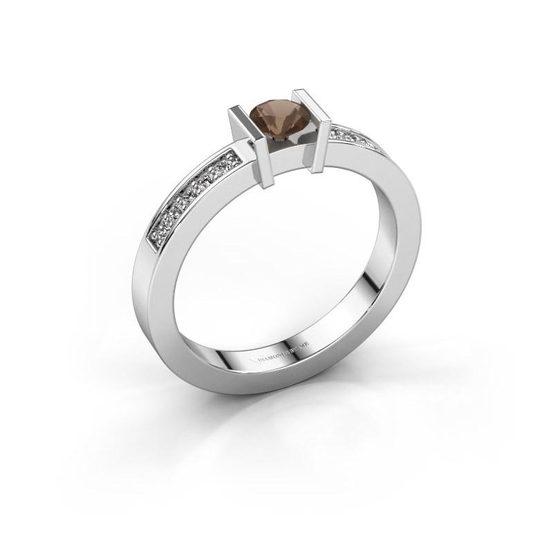 Engagement ring Maryam 585 white gold smokey quartz 4 mm