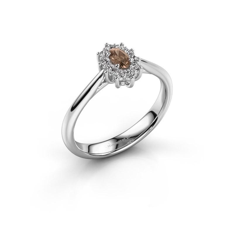 Verlovingsring Leesa 1 925 zilver bruine diamant 0.50 crt