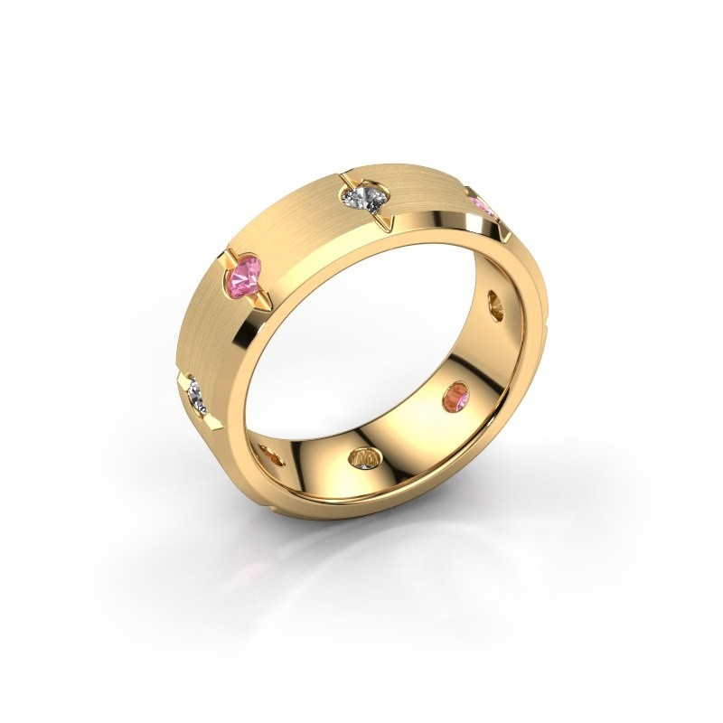 Men's ring Irwin 585 gold pink sapphire 2.7 mm