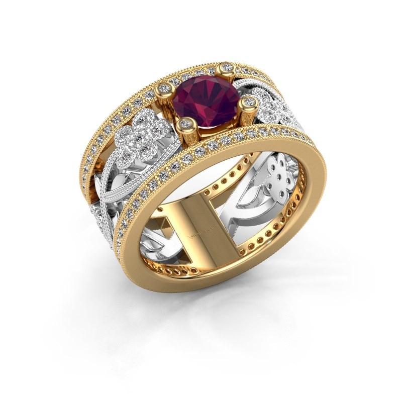 Ring Severine 585 goud rhodoliet 6 mm