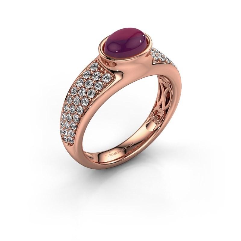 Ring Tatyana 375 rosé goud rhodoliet 7x5 mm