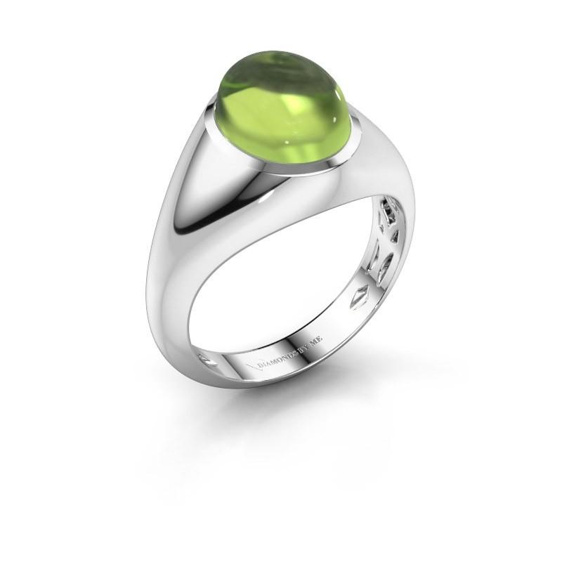 Ring Zaza 585 witgoud peridoot 10x8 mm
