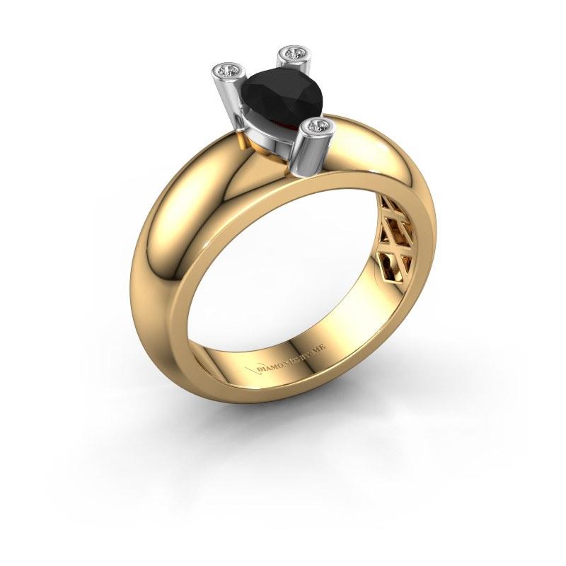 Ring Cornelia Pear 585 gold black diamond 1.00 crt