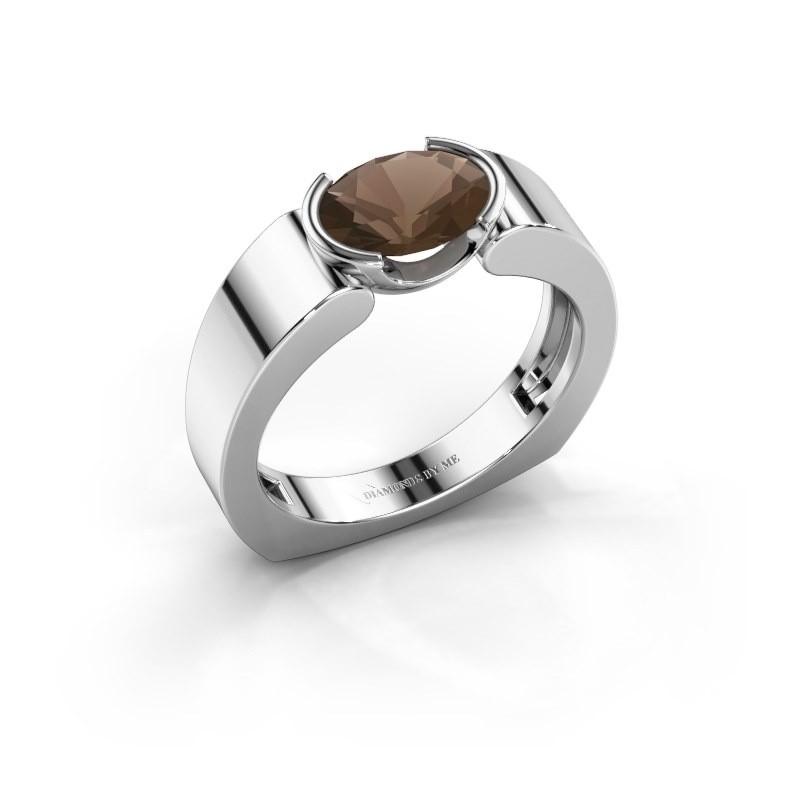 Ring Tonya 950 platina rookkwarts 8x6 mm