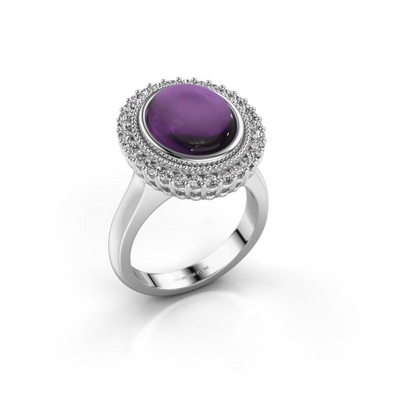 Ring Mila 585 witgoud amethist 12x10 mm