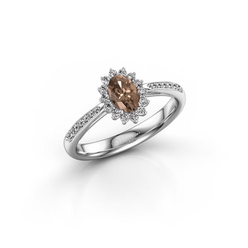 Verlovingsring Tilly ovl 2 925 zilver bruine diamant 0.50 crt