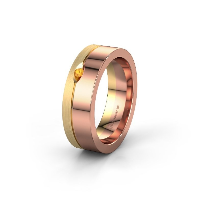 Wedding ring WH0329L16B 585 rose gold citrin ±0.24x0.08 in