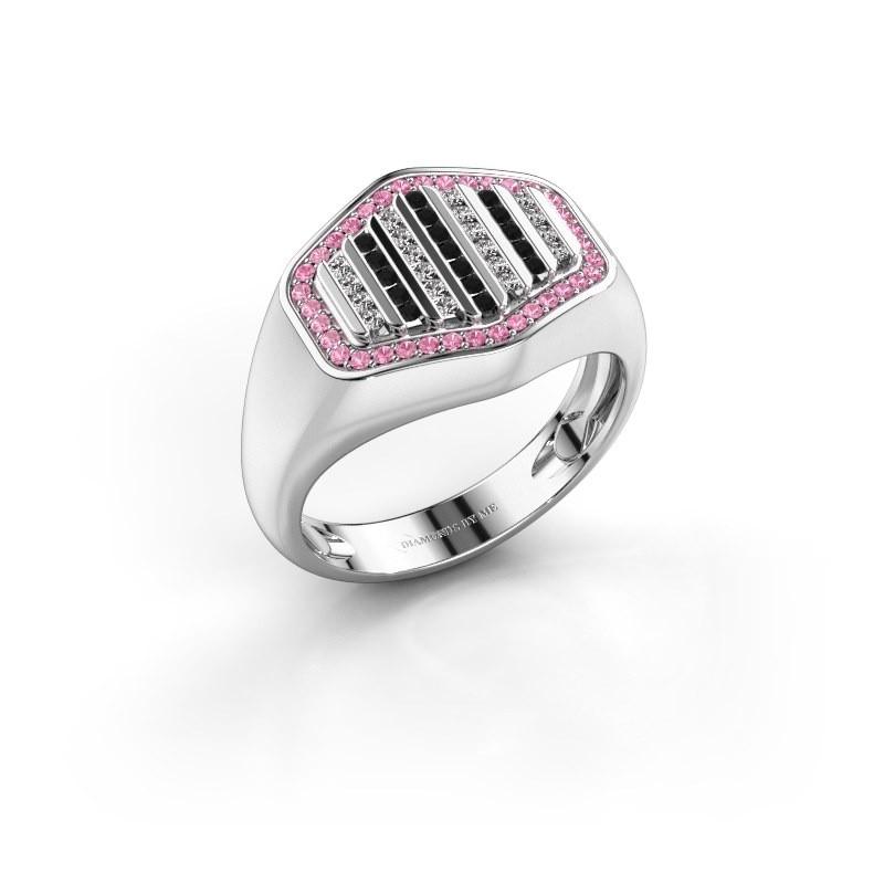 Heren ring Beau 585 witgoud roze saffier 1 mm