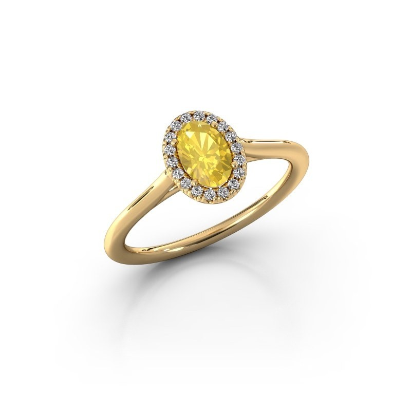 Engagement ring Seline 1 375 gold yellow sapphire 6x4 mm