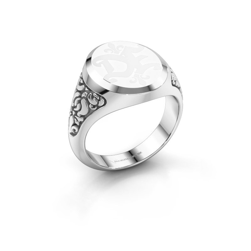 Monogram ring Brian Emaille 375 witgoud witte emaille