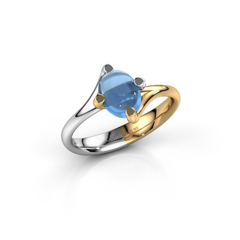 Ring Nora 585 witgoud blauw topaas 8x6 mm