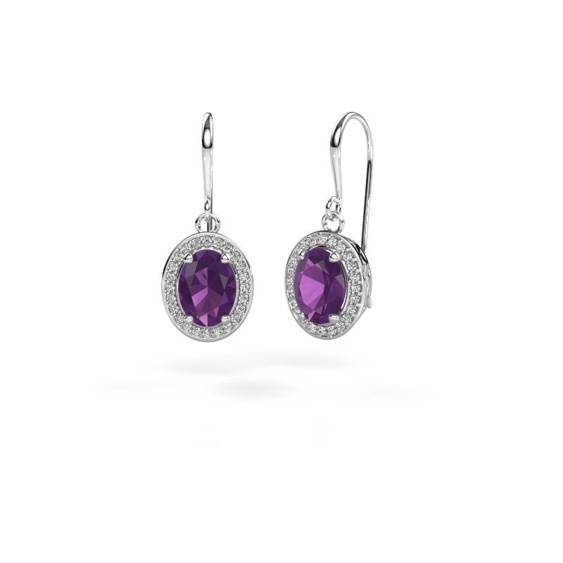 Drop earrings Latesha 375 white gold amethyst 8x6 mm
