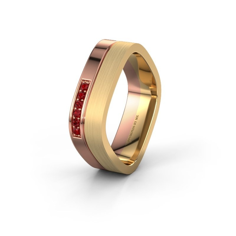 Wedding ring WH6030L16A 585 rose gold ruby ±0.24x0.07 in