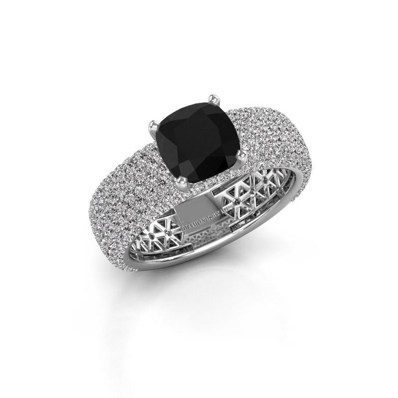 Engagement ring Darcy 585 white gold black diamond 3.77 crt