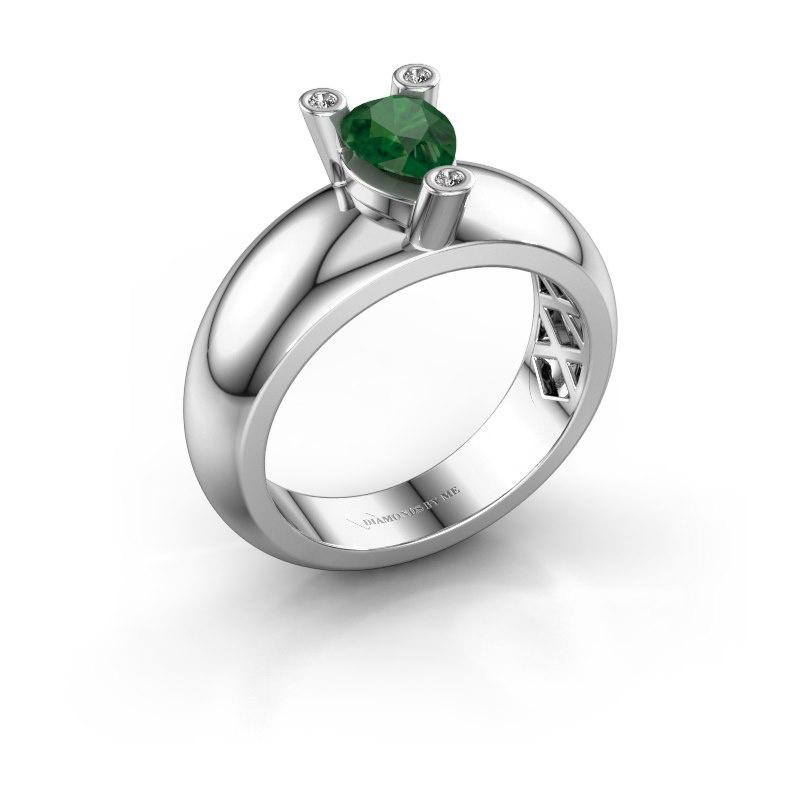 Ring Cornelia Pear 585 white gold emerald 7x5 mm