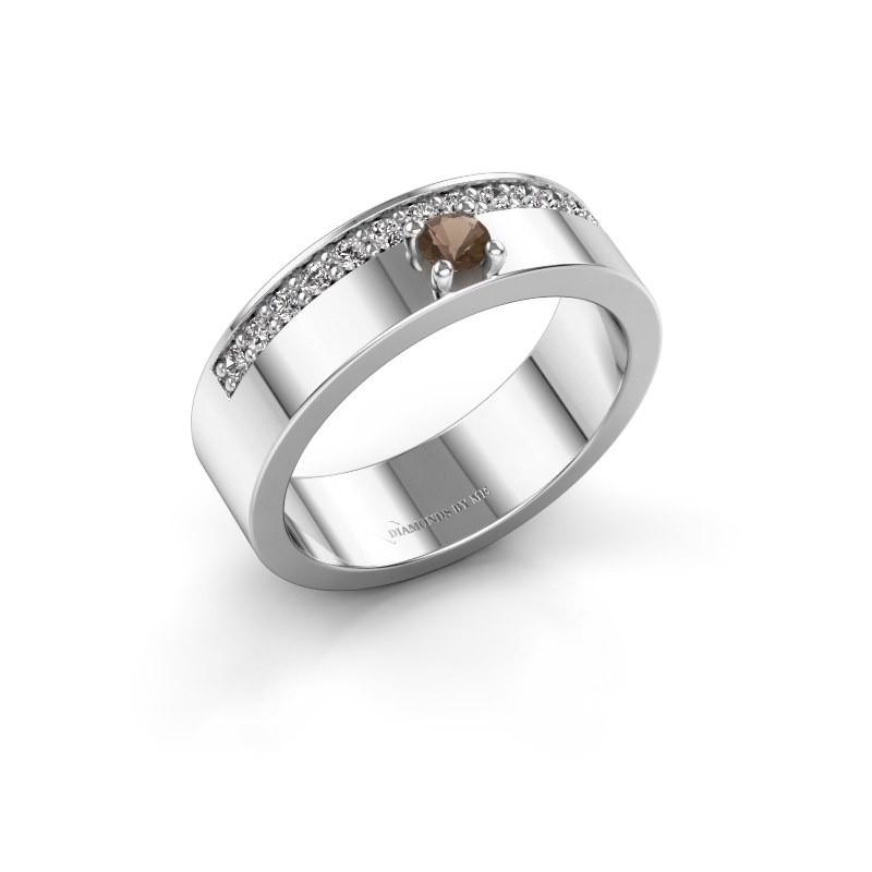 Ring Vicki 950 platina rookkwarts 3 mm