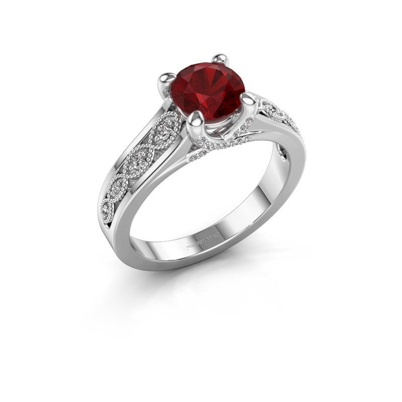 Engagement ring Clarine 585 white gold ruby 6.5 mm