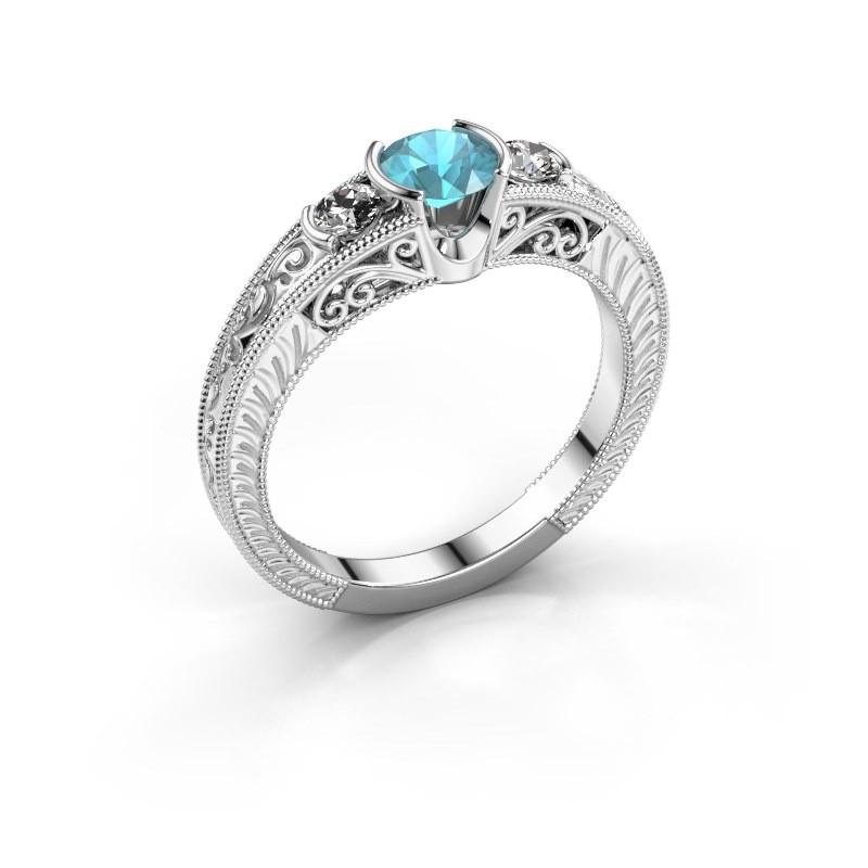 Promise ring Tasia 950 platina blauw topaas 5 mm