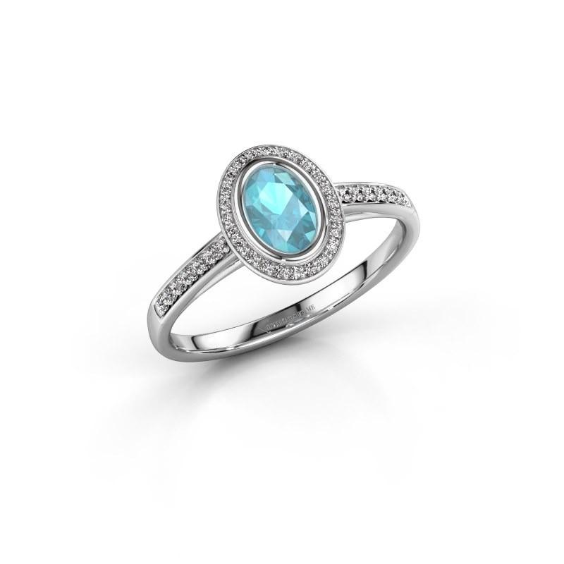 Verlovingsring Noud 2 OVL 925 zilver blauw topaas 6x4 mm