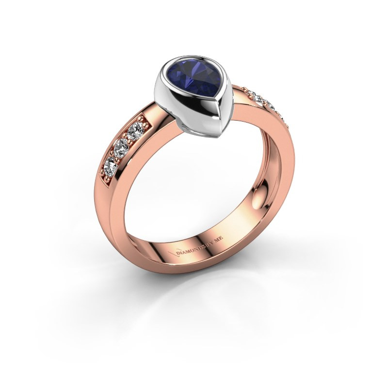 Ring Charlotte Pear 585 rose gold sapphire 8x5 mm
