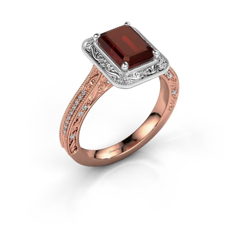 Verlovings ring Alice EME 585 rosé goud granaat 7x5 mm