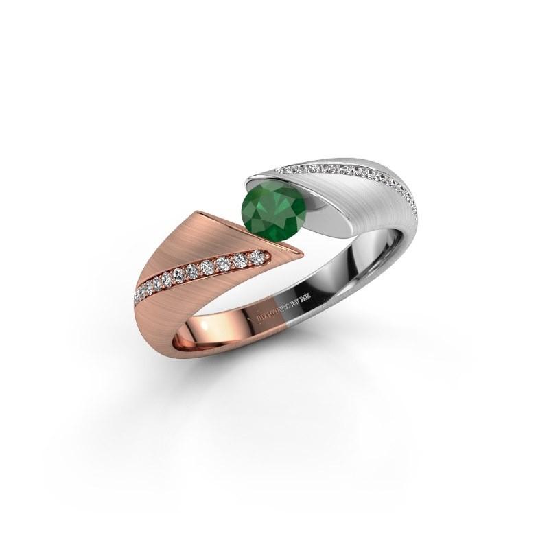 Verlovingsring Hojalien 2 585 rosé goud smaragd 4.2 mm