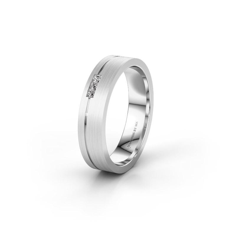 Trouwring WH0158L14X 585 witgoud diamant ±4x1.4 mm