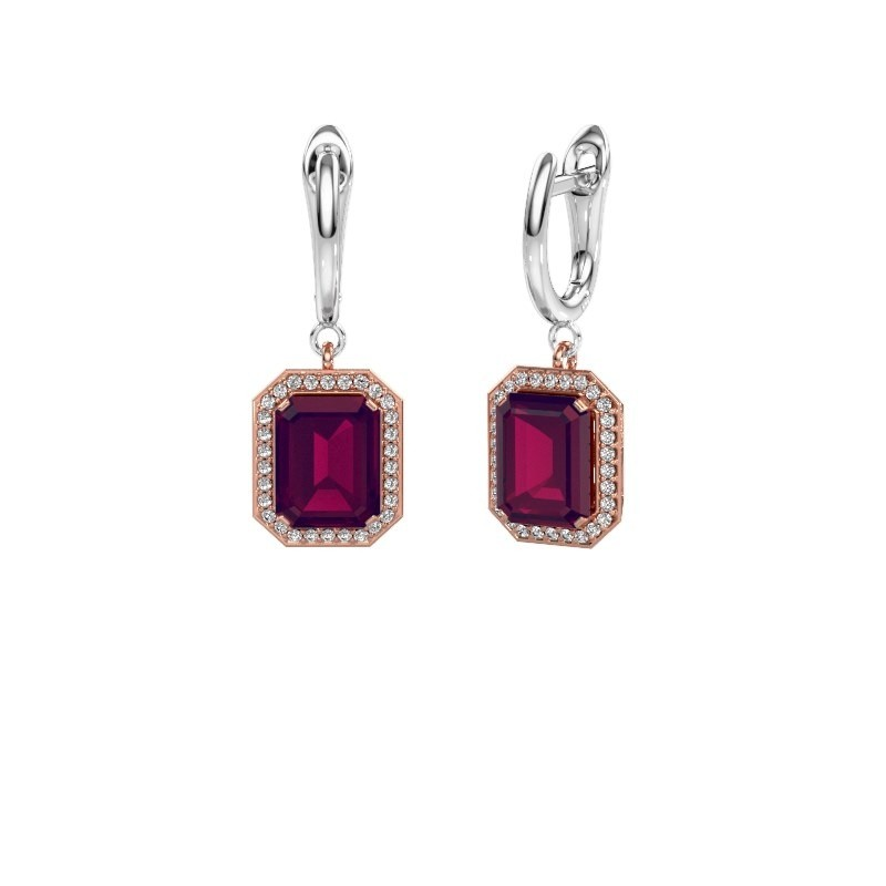 Drop earrings Dodie 1 585 rose gold rhodolite 9x7 mm