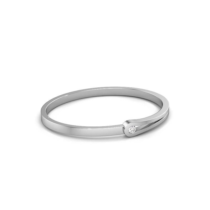 Bracelet jonc Kiki 950 platine diamant synthétique 0.25 crt