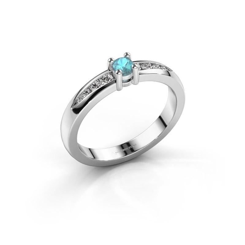Verlovingsring Zohra 925 zilver blauw topaas 3 mm