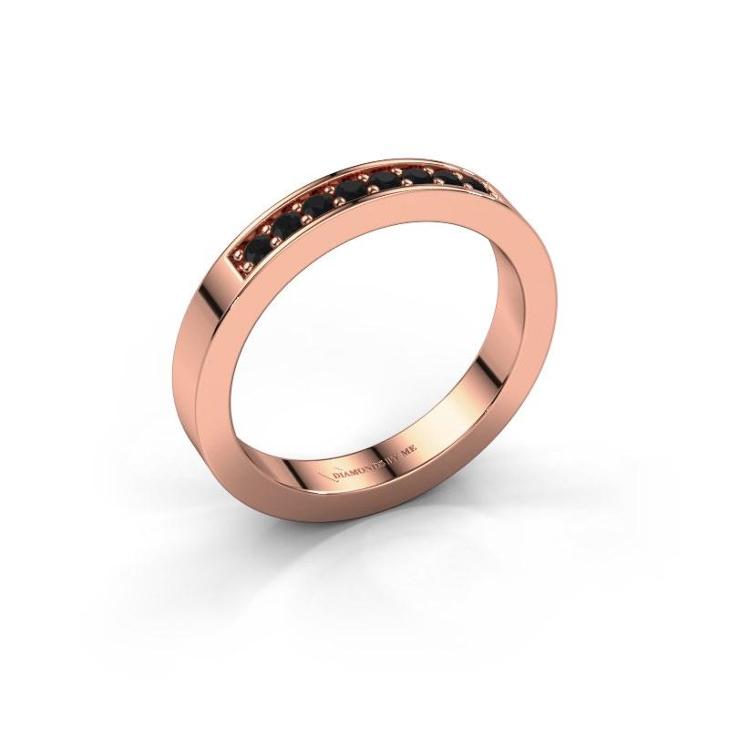 Aanschuifring Loes 5 585 rosé goud zwarte diamant 0.192 crt